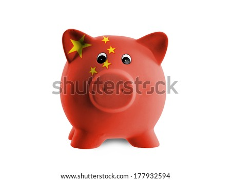 Ceramic piggy bank with painting of national flag, China
