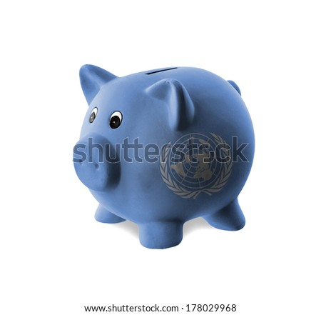 Ceramic piggy bank with painting of national flag, United Nations