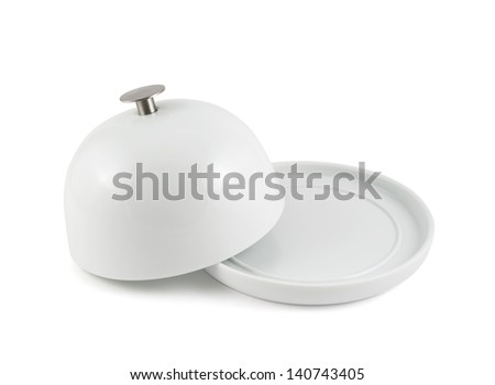 Ceramic plate cover on the empty copyspace dish isolated over white background