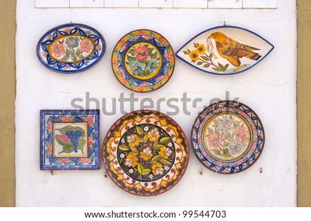 Ceramic plates display in Portugal.