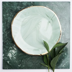 Ceramic plates with green stains and golden borders. Perfect handmade plates with the flower stalks around. Plates on the green flat.