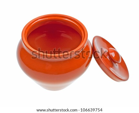 Ceramic pot for cooking isolated on white background