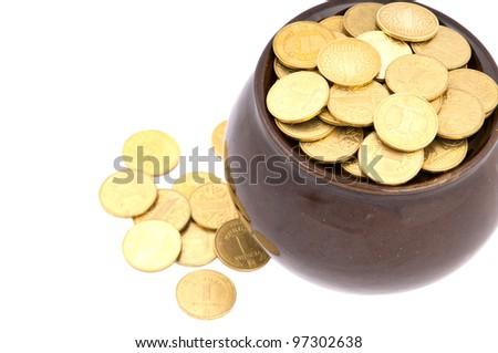 Ceramic pot with metal money