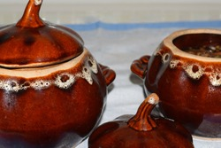 ceramic pot with vegetable soup