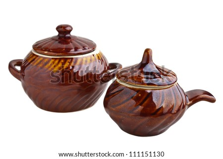 Ceramic pots isolated on white background