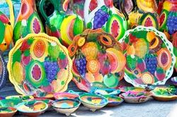 Ceramic pottery, crockery, earthenware, dishware, artisanal - Acapulco Flea market Guererro State, Mexico