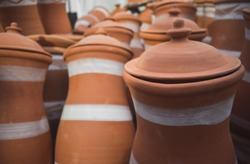 ceramic souvenirs for sale on the street in a shop in Morocco