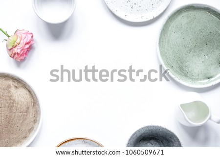 ceramic tableware top view on white background mock up #1060509671