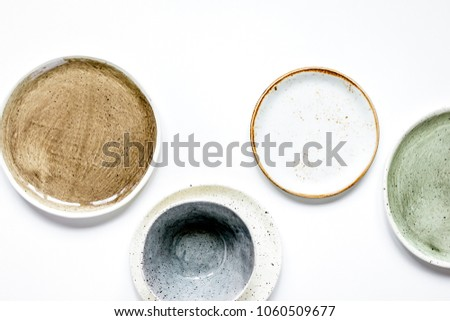 ceramic tableware top view on white background mock up #1060509677