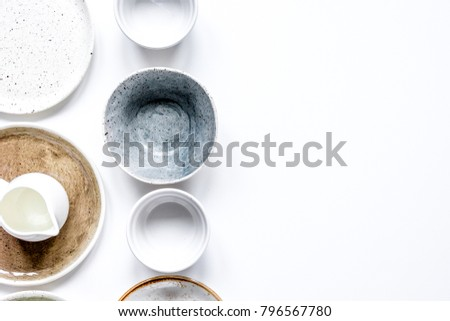 ceramic tableware top view on white background mock up #796567780