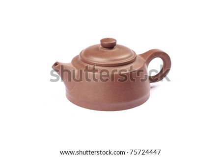 Ceramic teapot has been isolated from the standard design in white