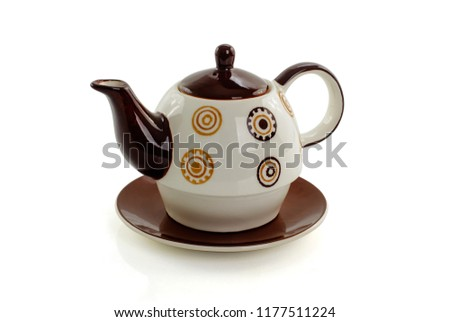 ceramic teapot isolated on white background #1177511224