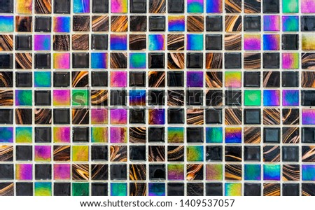 Ceramic tile mosaic. Background and texture tile mosaic. Tile mosaic in the interior of the bathroom or kitchen. #1409537057