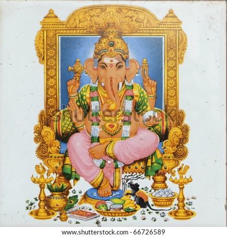 ceramic tile with image of hindu deity Ganesha called also Ganesa Ganesh Ganapati Vinayaka Pillaiyar