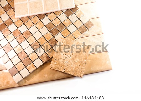 Ceramic tiles for tiling on a white background