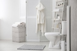 Ceramic toilet bowl in stylish bathroom. Idea for interior design
