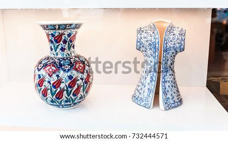 Ceramic traditional turkish souvenirs at grand bazaar, istanbul #732444571