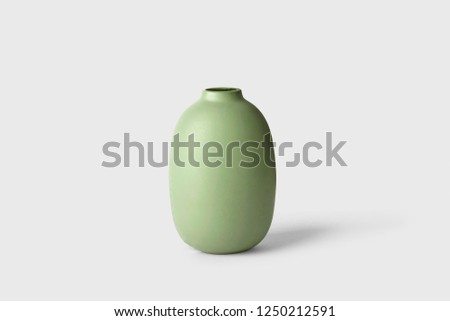 Ceramic vase isolated on white background.Great for decade and design.High resolution photo. #1250212591