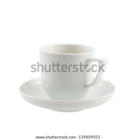 Ceramic white cup of tea or coffee over dish plate isolated on white background