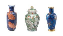 ceramics collage mix of beautiful vases isolated