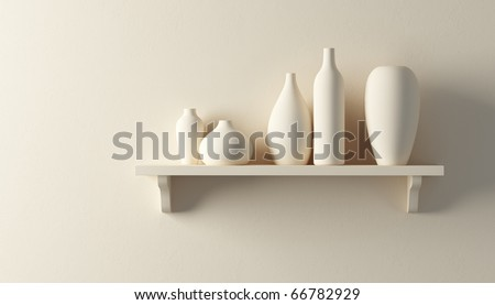 ceramics vases on the shelf 3d render