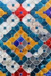 Ceramin mosaic colorful texture WAT PHRA  KAEW temple Bangkok Thailand