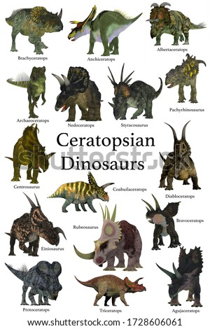 Ceratopsian Dinosaurs 3D illustration - A collection set of Ceratops beaked dinosaurs from the Cretaceous Period of the world's history of animals.