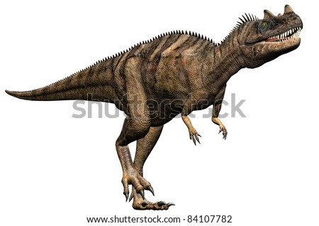 Ceratosaurus dinosaur running full body side view.  A predator  theropod,  large head, short forelimbs, robust hind legs, and a long tail. Late Jurassic Period. Isolated illustration