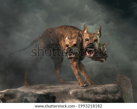 Cerberus, the hound of Hades, from Greek mythology is the guardian to the entrance to the underworld. The legendary three headed monster dog of myth and fantasy is a fearsome creature. 3D Rendering Photo stock ©