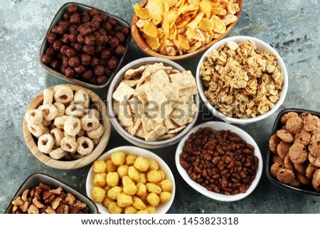 Cereal. Bowls of various cereals for breakfast. Muesli with variety of kids cereals. #1453823318