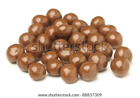 cereal chocolate balls on a white background