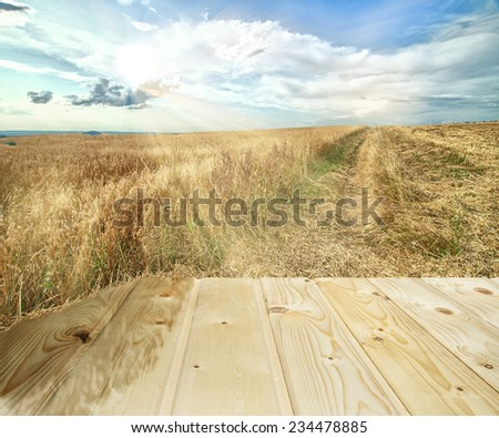 Cereal  fields and road in the heels under fantastic sky with sun rays