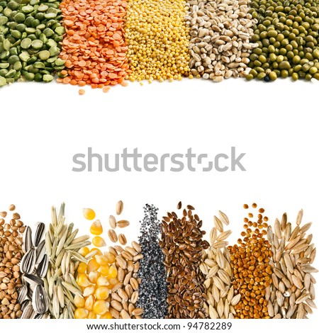 Cereal Grains , Seeds,Beans , border frame close up isolated on white background