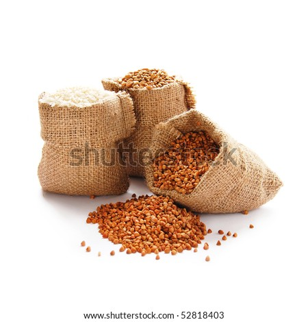 Cereal in a bag, on the white background