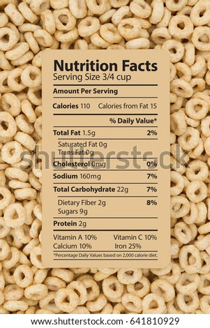Cereal is a healthy breakfast, Healthy oats cereal with text of a nutrition label on a card #641810929