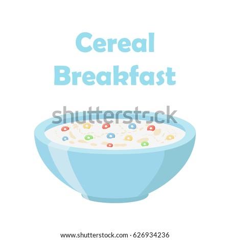 Cereal rings, oatmeal breakfast with milk, organic muesli. Flat style.