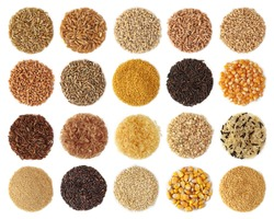 Cereals collection isolated on white background