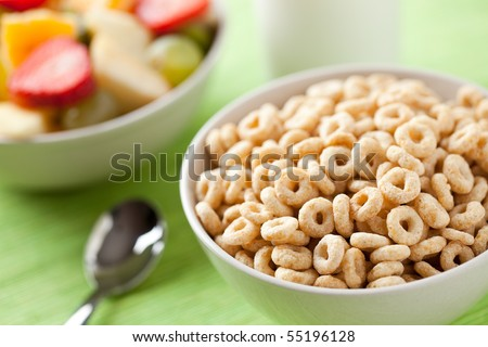 cereals rings and fruit - stock photo
