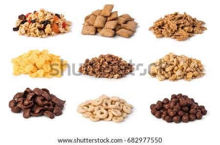 Cereals set isolated on white background #682977550