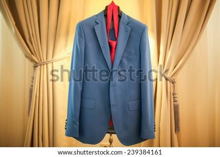Ceremony blue groom suit