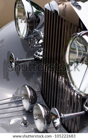CERNOBBIO, LAKE COMO - MAY 27: Rolls Royce sign on a classic car at the Concorso d'Eleganza Villa d'Este auto show in Cernobbio at the Lake Como in Italy on May 27, 2012.
