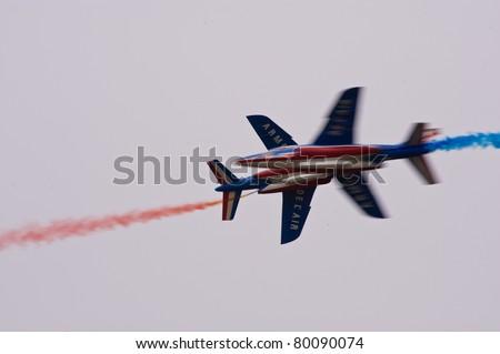 CERNY LA FERTÉ ALAIS, FRANCE - JUNE 12: Patrouille de France performing at Aerial Meeting \