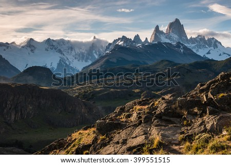 Cerro Torre and Fitz Roy panorama in Southern Patagonia, Argentina #399551515