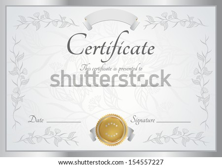 Royalty-free Silver certificate of completion… #119236123 Stock ...