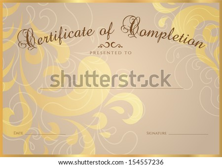 Certificate, Diploma of completion (design template, background ...
