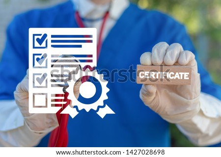 Certificate Healthcare Pharmacy concept. Pharmacist or doctor holds wooden block with certificate word and touches document with stamp icon. Quality Standard Certification Medicine. #1427028698