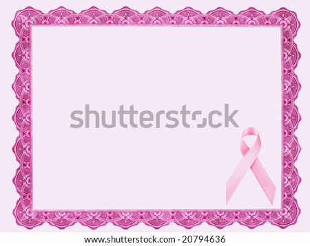 Certificate with Pink Ribbon