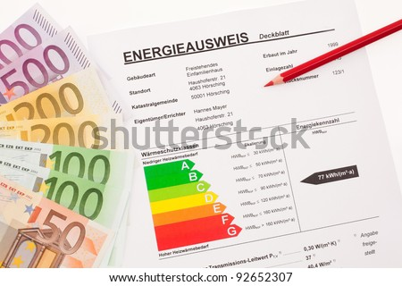certification for single family, austria. euro banknotes and red pen - stock photo
