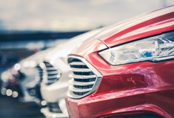 Certified Pre Owned Cars For Sale on Dealership Lot. Automotive Industry.