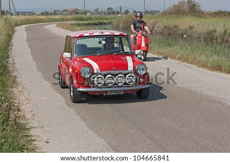 """CERVIA (FC) ITALY - JUNE 6: vintage tuned small car Mini at rally of old car """"10�° Raduno delle Centurie Romane"""" on june 2, 2012 in Cervia (RA) Italy"""